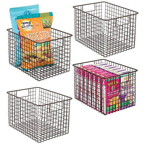 - mDesign Farmhouse Decor Metal Wire Food Storage Organizer, Bin Basket with Handles for Kitchen Cabinets, Pantry, Bathroom, Laundry Room, Closets, Garage - 12