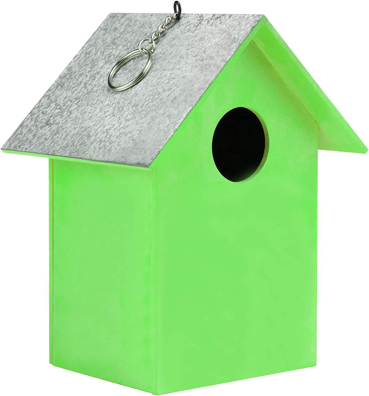 com-four® Pajarera de Madera - Nido para pájaros pequeños - comedero Decorativo para Colgar - protección para pájaros Salvajes pequeños (01 Piezas - 17x13 x11.7cm Verde)
