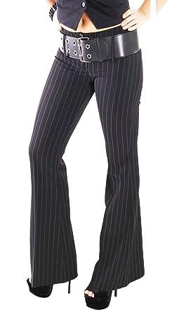 9d25a5b6bf998c Party-Shoe Hüfthose mit Gürtel Schlaghose mit Nadelstreifen Business schwarz  33175: Amazon.de: Bekleidung