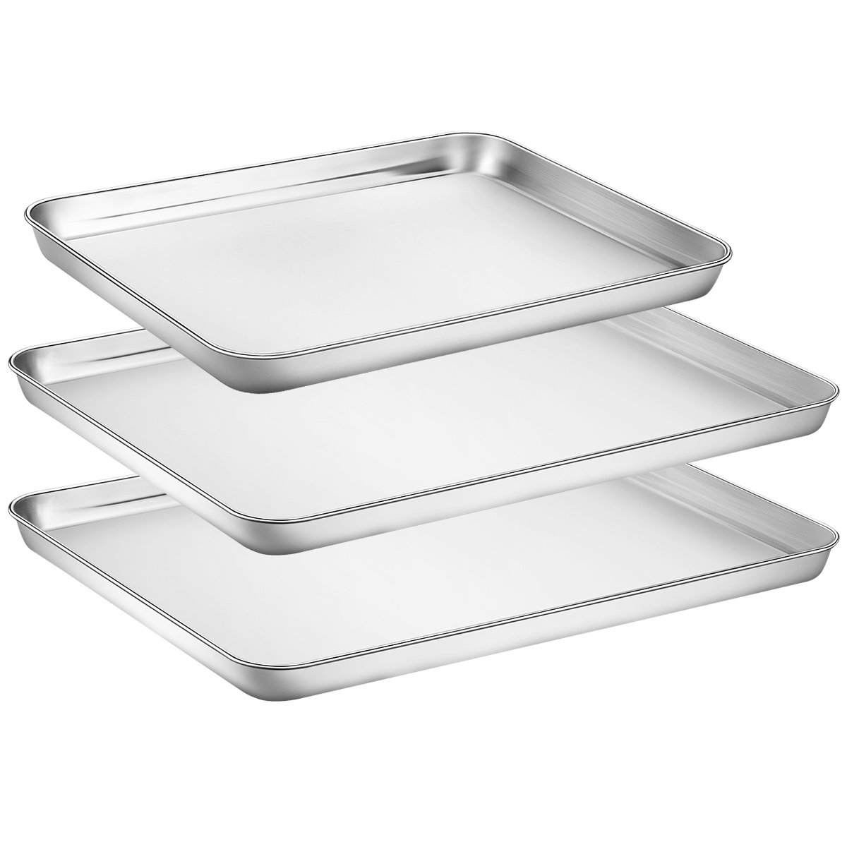 Baking Sheets Set of 3, HKJ Chef Baking Pans 3 Pieces & Stainless Steel Cookie Sheets & Toaster Oven Tray Pans, & Non Toxic & Healthy, Mirror & Easy Clean & Dishwasher Safe