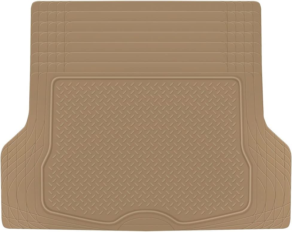 BDK MT785BGAMw1 Heavy Duty Cargo Floor Mat-All Weather Trunk Protection, Trimmable to Fit & Durable Rubber (Beige)