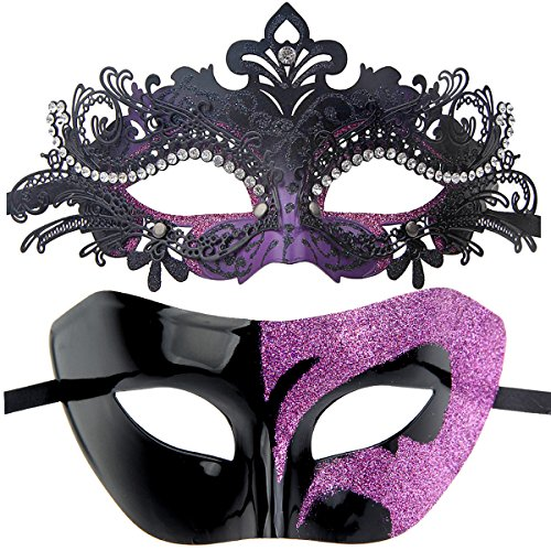 Couples Pair Mardi Gras Venetian Masquerade Masks Set Party Costume Decorations (Black&Purple)