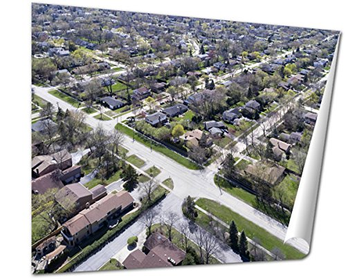 Ashley Giclee Fine Art Print, Aerial View Of Suburban Neighborhood, 16x20, - Northbrook Court Illinois