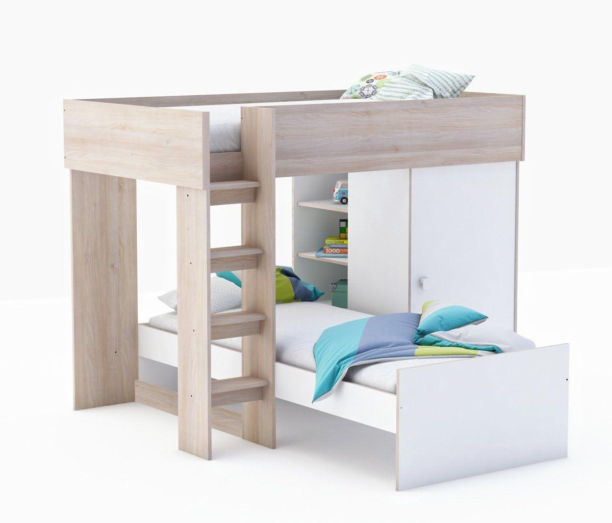 Bilira_Kids Cama litera Combi Lizzy – Color Blanco/Acacia, 90 x 200 cm, 2 Camas Infantil y Juvenil Habitaciones: Amazon.es: Juguetes y juegos