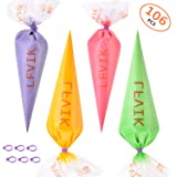 106 Pcs Extra Thick Disposable Pastry Bags 16 Inch-Icing Piping Bagswith 6 Pcs Icing Bag ties cake cupcake cookie Decorating bags (1.37LBS)