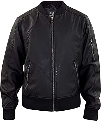 Mens MA1 Quilted Leather Look PU Lined Biker Jacket By Crosshatch