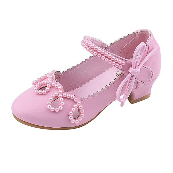 af458c17f28 Amazon.com  Toddler Sandals FAPIZI Baby Kids Girls Pearl Square Heel  Leather Bow Shoes Single Princess Shoes  Clothing