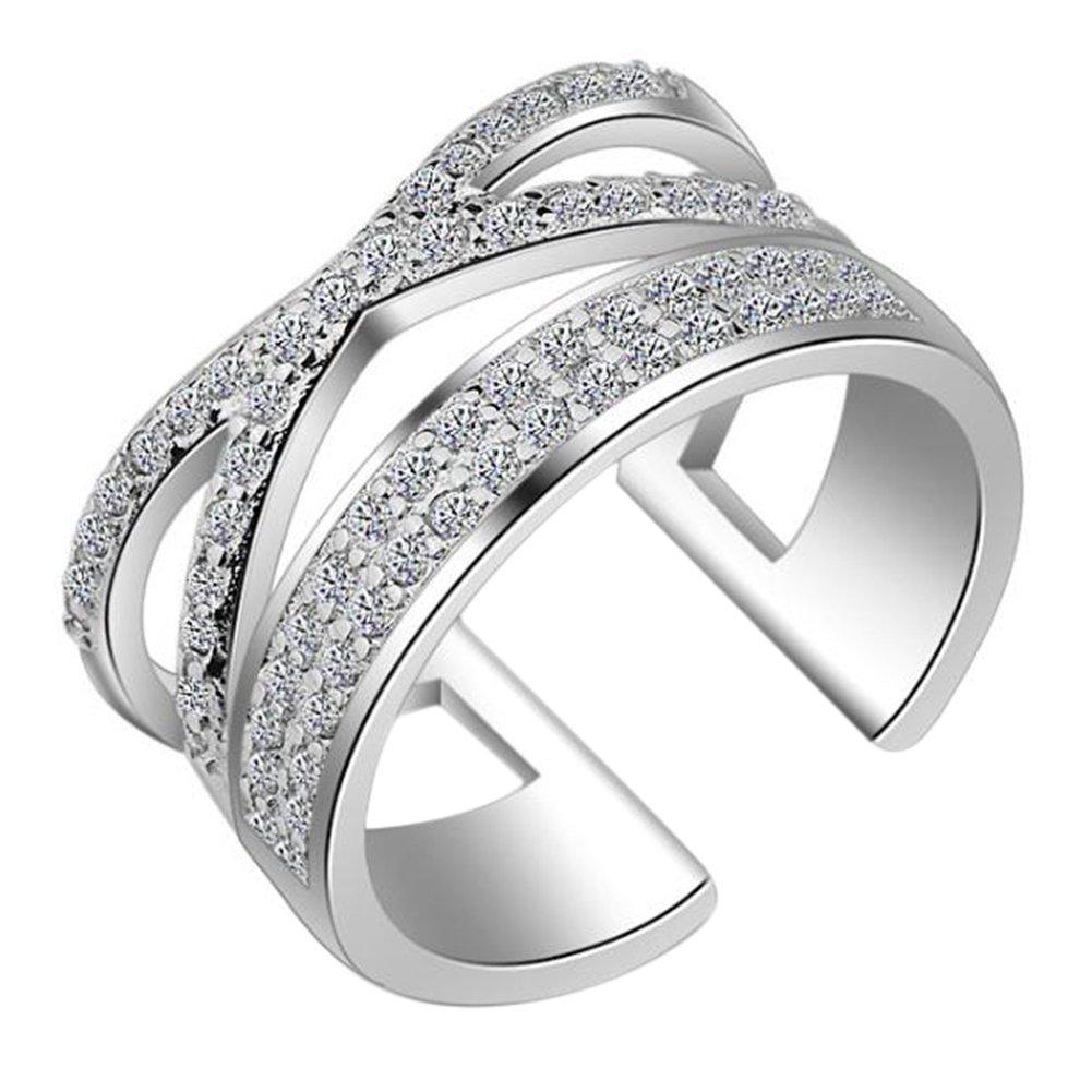 Outflower 1pc Anello di raccolta semplice anello scintillante intarsio con piccolo anello di diamanti regolabile Anello femminile regolabile regalo di compleanno argento