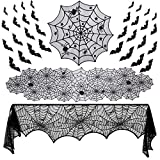 Binen 35 Pieces Halloween Lace Decorations Sets, Fireplace Mantel Scarf, Lace Spider Web Table Runner, Round Lace Table Cover, 3D Bats Wall Sticker Decal for Halloween Party Decor