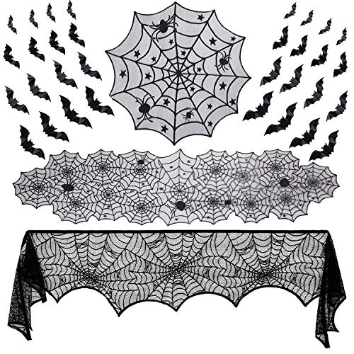 Halloween Spider Web Pics (Binen 35 Pieces Halloween Lace Decorations Sets, Fireplace Mantel Scarf, Lace Spider Web Table Runner, Round Lace Table Cover, 3D Bats Wall Sticker Decal for Halloween Party)