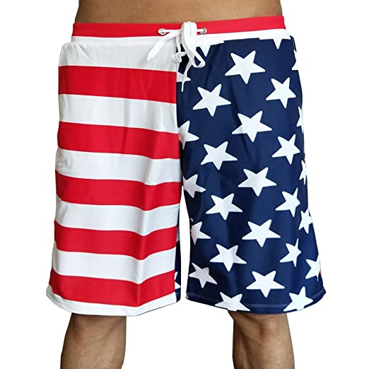 2cdd0c0365e0c Dnggand Men's USA Swim Trunks American Flag Shorts 4th of July Boardshorts  Beach Board Shorts(