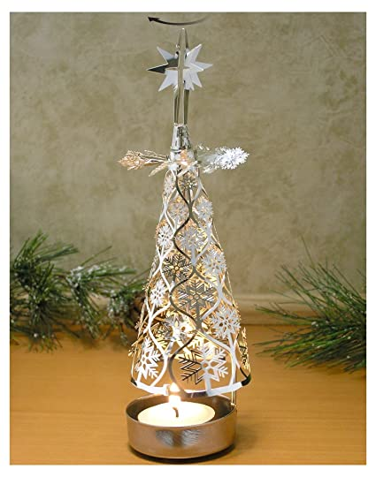 amazon com spinning christmas tree candle holder with snowflakes