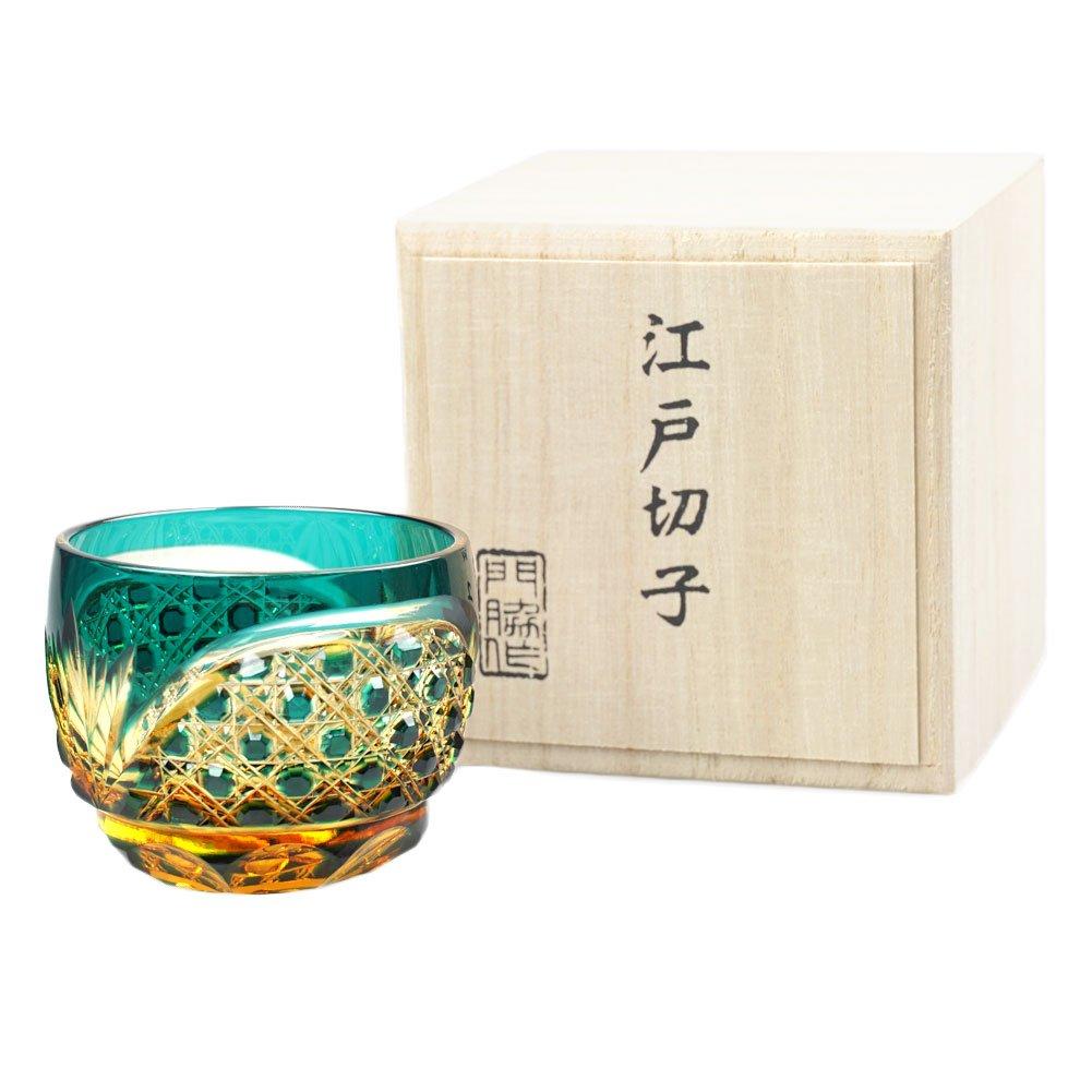 Crystal Sake Cup Edo Kiriko Guinomi Cut Glass Octagon Hakkaku-Kagome Pattern - Green x Amber [Japanese Crafts Sakura] by Japanese Crafts Sakura (Image #2)