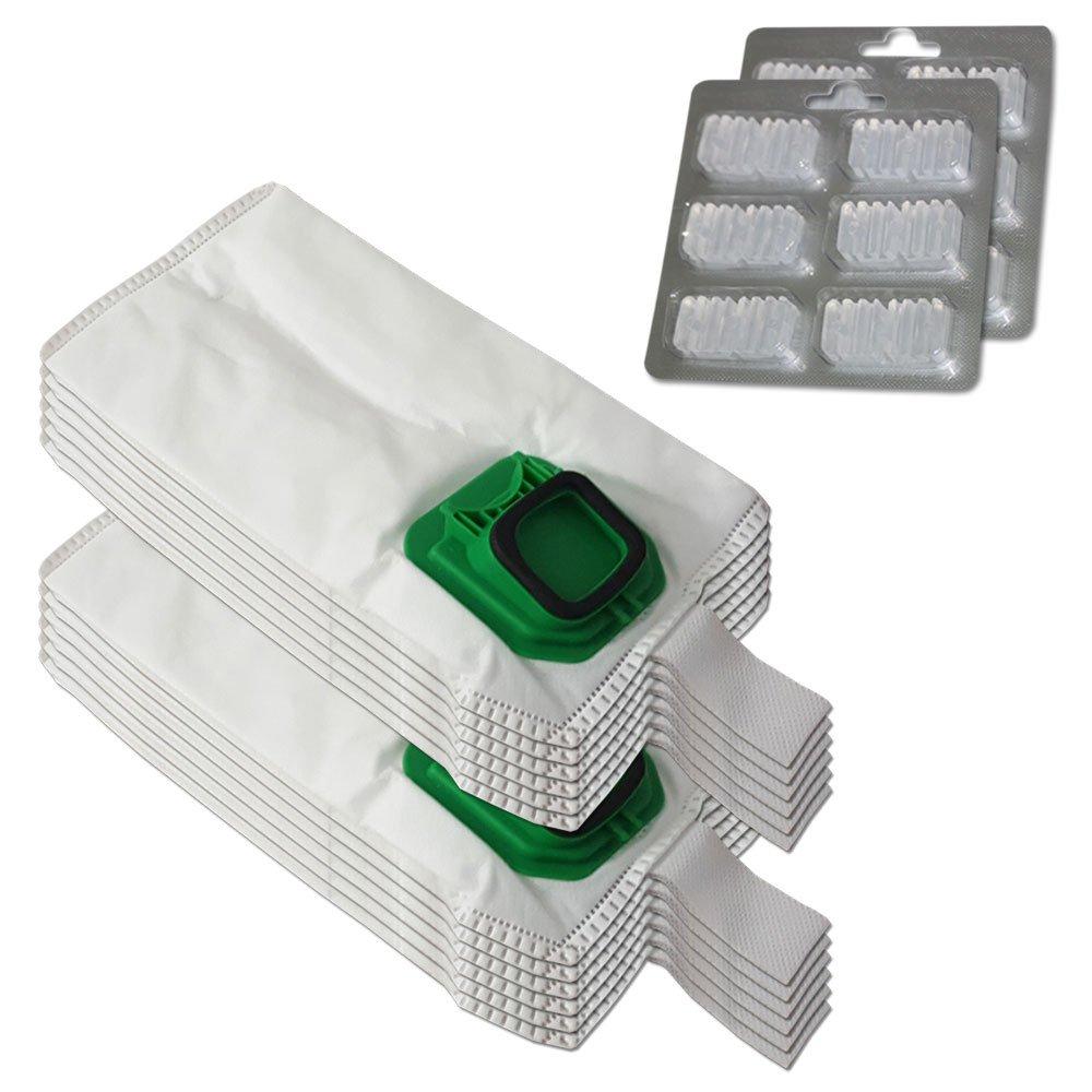 SET 12 Sacchi / Sacchetti (Microfibra) + 12 Profumini per aspirapolvere Vorwerk Folletto Kobold VK 140, 150, VK140, VK150 Filterprofi