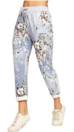 Womens Ladies Italian Floral Rose Printed Turn Up Trousers Summer Beach Trouser Pants Denim Jeans 14, Light Blue