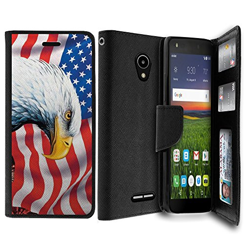 (Untouchble|Case for Alcatel Raven LTE Case, Alcatel Verso, Alcatel IdealXCITE Wallet Case [MAX WALLET] Dual Purpose Case, Phone Cover Clutch Card ID Slot Custom Print Design - Patriot Eagle)