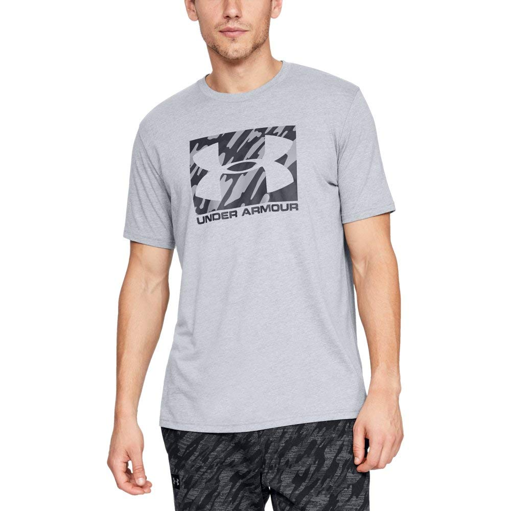 Under Armour Men's Boxed Sportstyle Short Sleeve Shirt, Steel Light Heather (036)/Black, Large by Under Armour