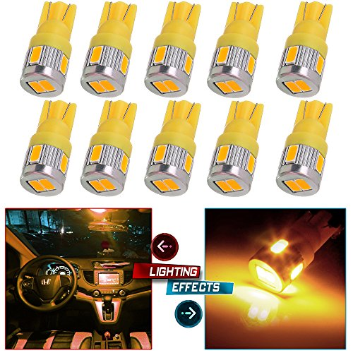 cciyu 194 Extremely Bright LED Bulbs T10-6-5730-SMD fit for Interior Lights Map Light Step/Courtesy/Door Light Glove Box Light Instrument Panel Light Wedge T10 168 2825 W5W Warm White Bulbs Pack of 10