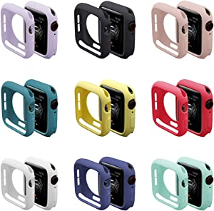 [9 Pack] Compatible with Apple Watch 38mm 40mm 42mm 44mm Case, Soft TPU Protective Bumper Cover for iwatch Series 6 5 4 SE 3 2 1Case(40mm)