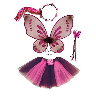 Enchantly Fairy Costume - Fairy Wings for Girls - Butterfly Costume for Girls - Brown and Pink Pixie Wings, Tutu, Wand and Rosebud Halo: Clothing