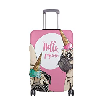 FOLPPLY Hello Pugicorn Cute Puppy Luggage Cover Baggage Suitcase Travel Protector Fit for 18-32 Inch