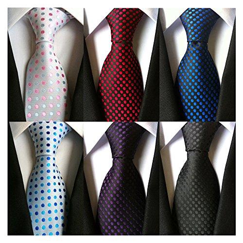 AVANTMEN 6 PCS Classic Men's Neckties Woven Jacquard Neck Ties Set (S11)