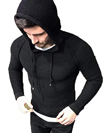 Gocgt Mens Sweater Long Sleeve Hooded Rib Knit Pullover Sweater at Amazon  Men s Clothing store  319682b1a