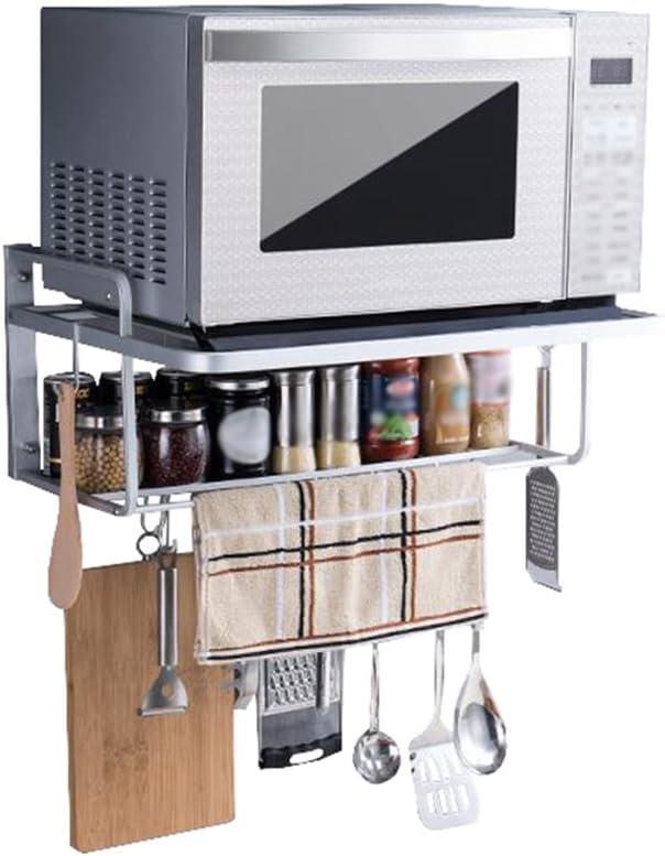 Estante de Cocina Colgante de Pared Horno de microondas Rack Espacio Aluminio Pilones de 2 Capas Soporte de Almacenamiento con Ganchos: Amazon.es: Hogar