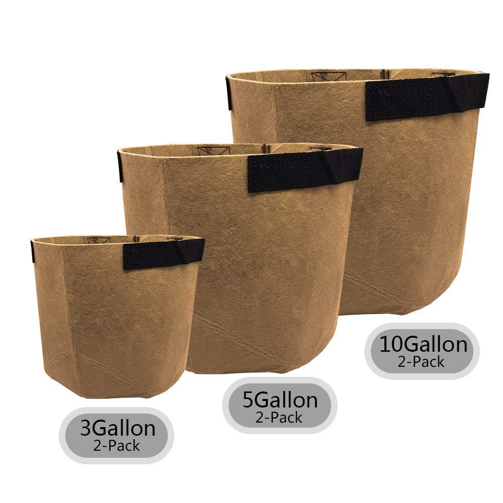 SingPad Grow Bags-3 Gallon/5 Gallon/10 Gallon Grow Bags w/Handles,6-Pack Aeration Smart Fabric Pots for Growing Trees, Plants, Flowers, Vegetables, Tomatoes and Potatoes (Tan) by SingPad