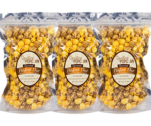 Signature Popcorn Large Resealable Bags of Gourmet Perfect Duo (Caramel & Cheese Mixed Together)l Popcorn-3 Pack
