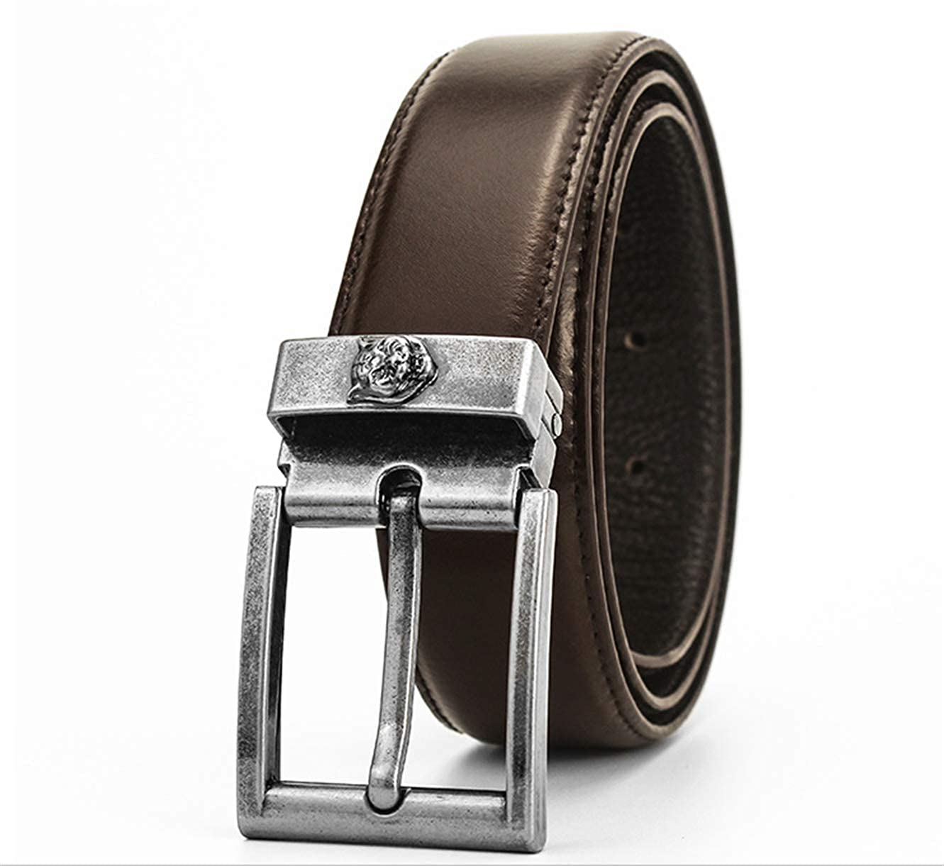 Mens double g bronze tiger head pin buckle layer leather belt