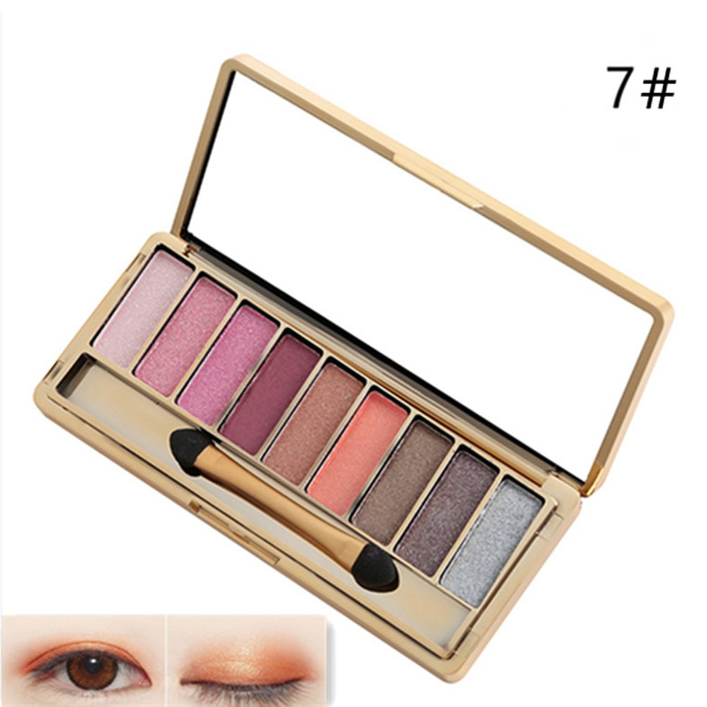 Pevor Glitter Eyeshadow Palette Pigmented Eyeshadow Palette Bright Sparkling Eye Makeup with Makeup Brush Diamond Eye Shadow Multi-Colored Eyeshadow Set 9 Colors Eye Cosmetics Set 7#