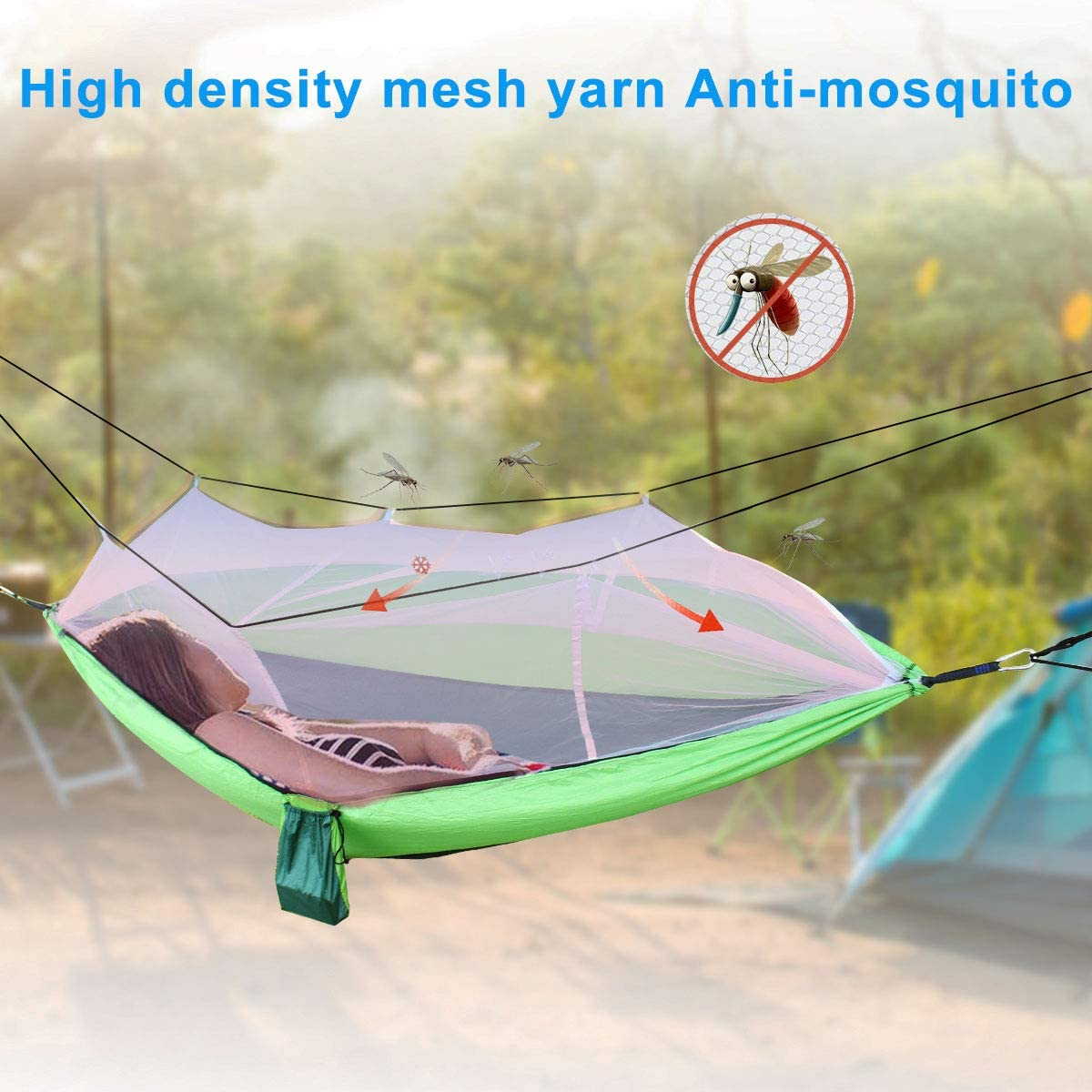 2 Tree Ropes Carabiners for Outdoor Backpacking Camping Hiking Travel Park Garden Backyard Green Bcway Camping Hammock Double Lightweight Portable Nylon Parachute Hammocks with Mosquito Net