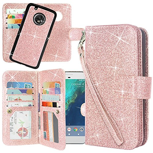 oto G Plus (5th Gen) Case, Linkertech Detachable 2 in 1 Glitter Shiny PU Leather Flip Wallet Case with 12 Card Slots and Wrist Strap for Moto G Plus (5th Gen) (Glitter Rose Gold) ()