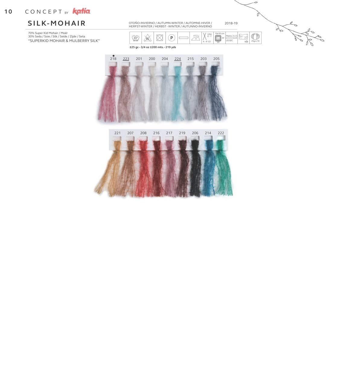 Katia concepto seda mohair DK color 709/Gris Ruby Rose marr/ón 25/G bola 70/% MOHAIR Superkid 30/% seda 140/M con 4/mm Agujas