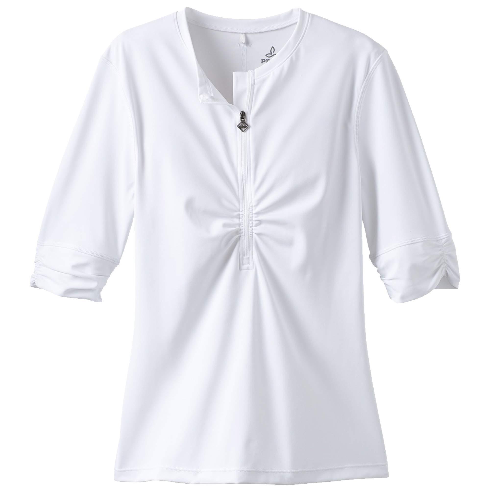 prAna Women's Perry Short Sleeve Sun Top, White, Small
