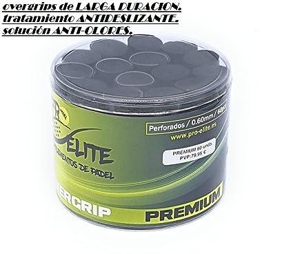 overgrips Pro Elite Premium Perforados Negros. Bote de 60 unds.