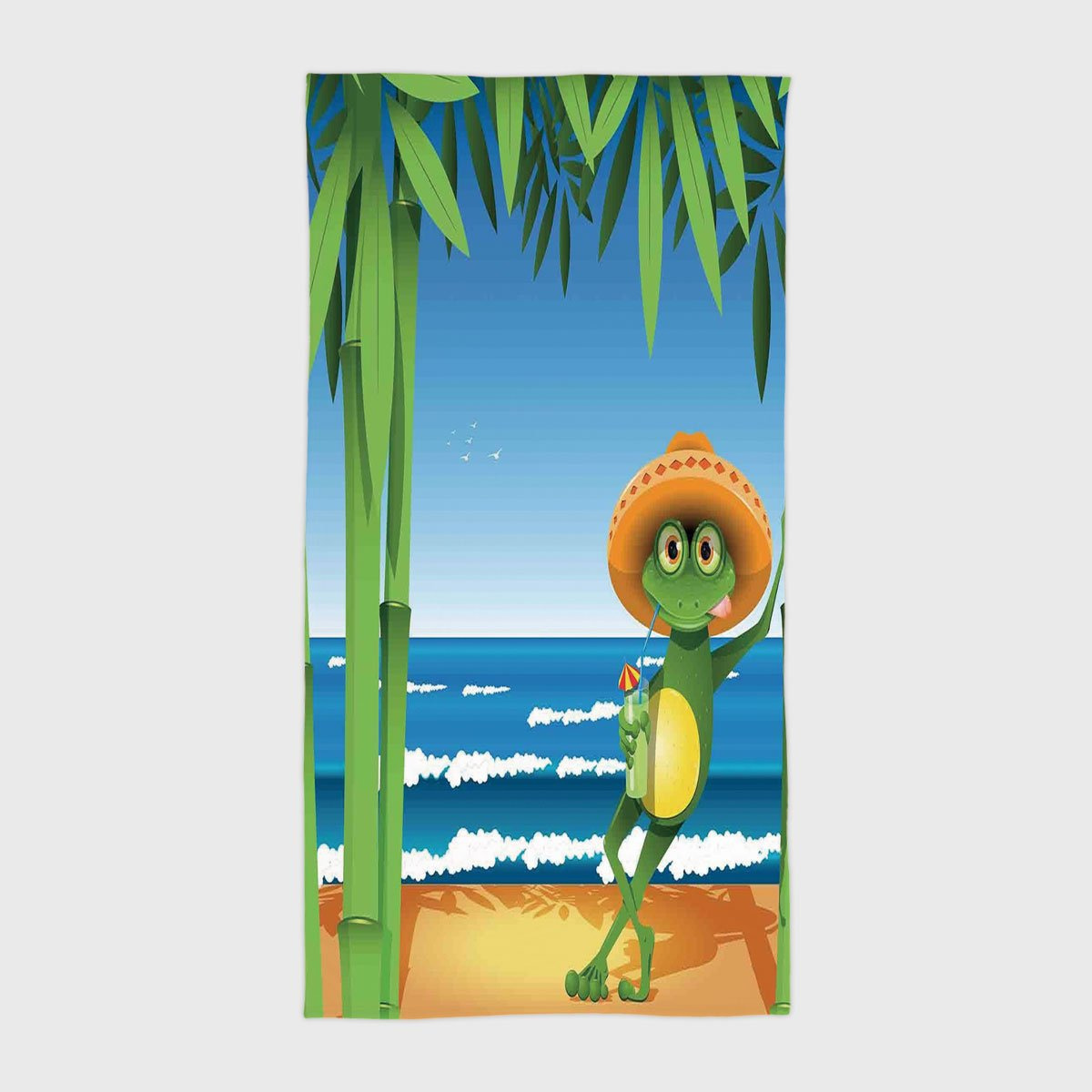 One Side Printing Hotel SPA Beach Pool Bath Hand Towel,Animal Decor Illustration of a Frog on Sandy Beach with Palm Trees and Ocean Tropical Print Green Blue Cream,for Kids Teens and Adults