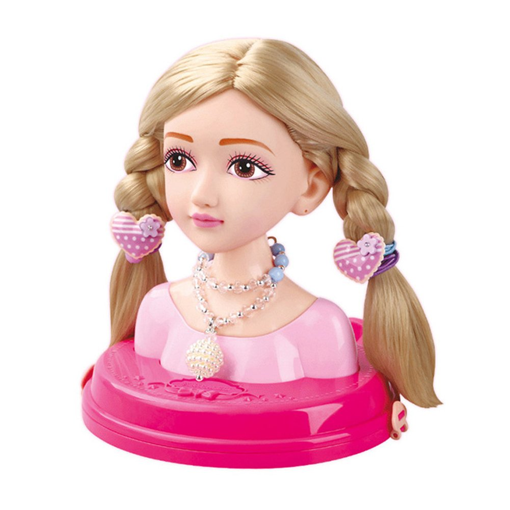 Baby Simulation Doll Toy Stylish Hair Style Doll Makeup Headwear Hair Braiding Practice Girls' Toys Hairdressing Beauty Makeup Toys Light Brown Hair