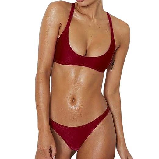 69c868b174 Amazon.com: Pervobs Swimwear, Big Women Solid Bandages Velvet Bikini Sets Two  Piece Swimsuits Swimwear Beach Suit: Clothing