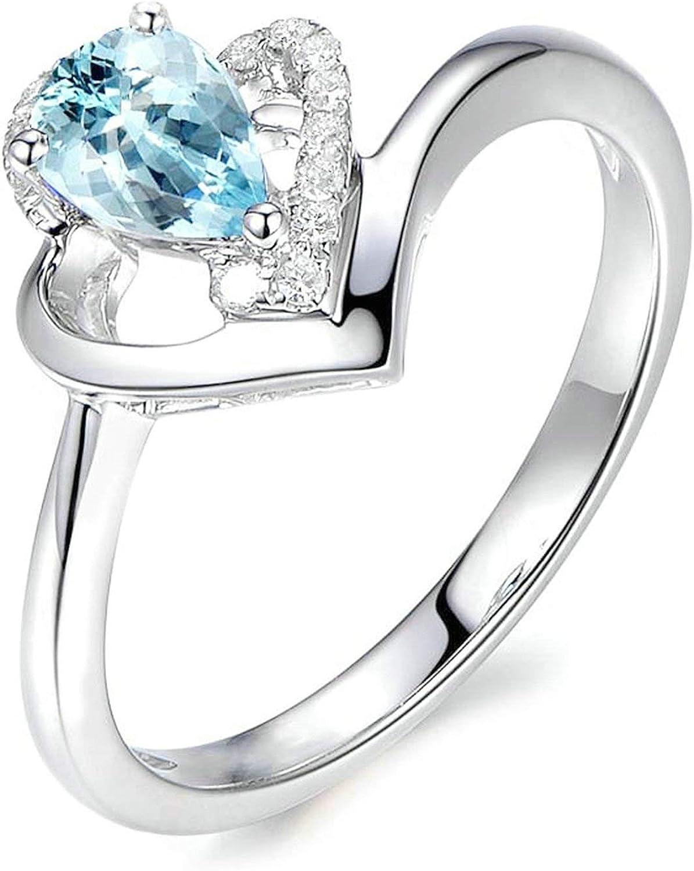 Blisfille Joyas Anillos de Boda Silicona Anillo de Teardrop Anillo de Diamante Azul Anillo de Plata de Ley 925,Blanco Oro del Tamaño 25: Amazon.es: Joyería