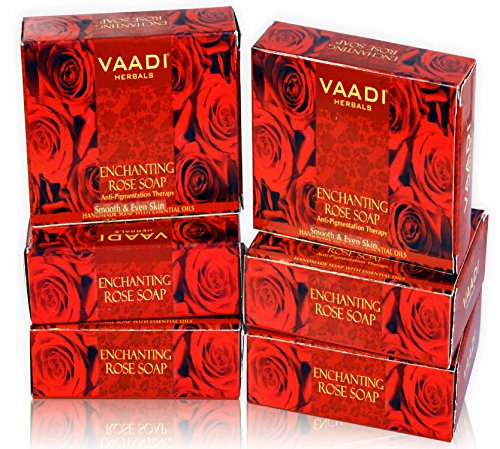 Red Rose Petal Bar Soap - Handmade Herbal Soap with 100% Pure Essential Oils - ALL Natural - Anti-pigmentation Therapy - Each 2.65 Ounces - Pack of 6 (16 Ounces) - Vaadi Herbals