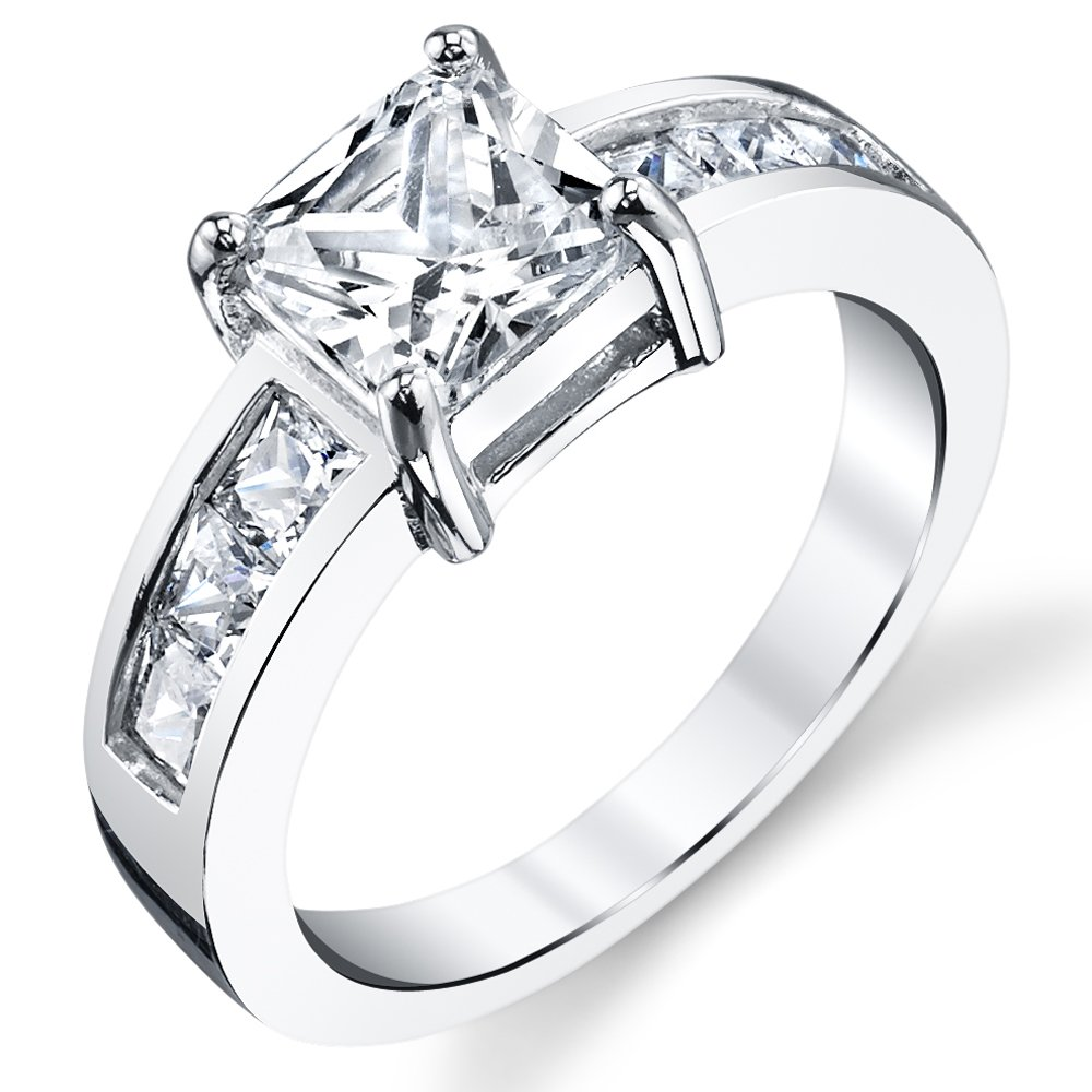 1.25 Carat Princess Cut Sterling Silver Cubic Zirconia Engagement Ring Band Size 8