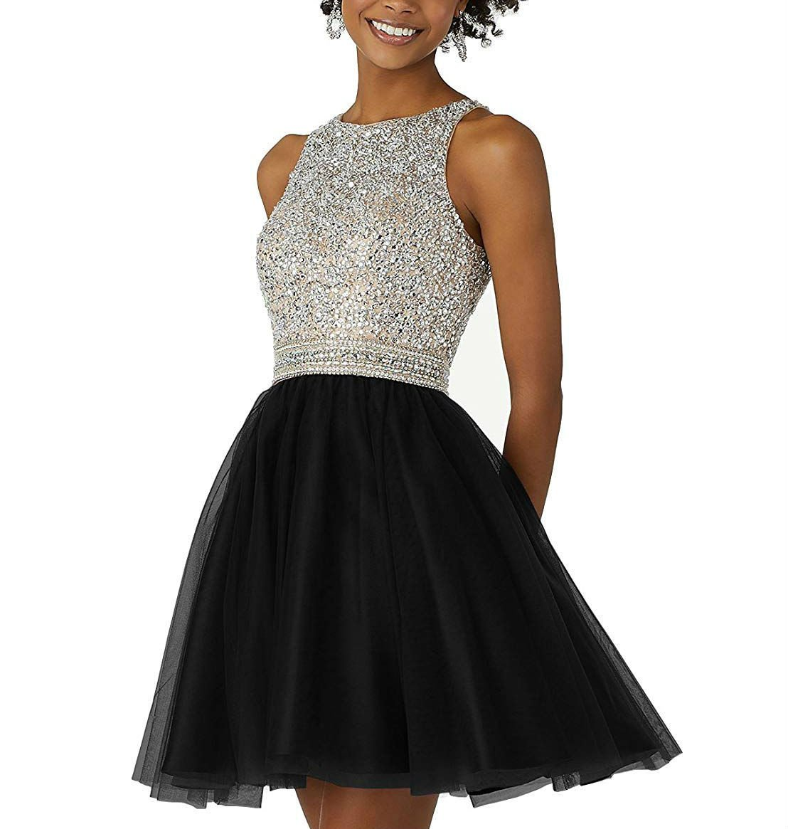 Homecoming Dresses for Juniors Beaded Open Back Tulle Short Prom Party Dresses Black Size 16