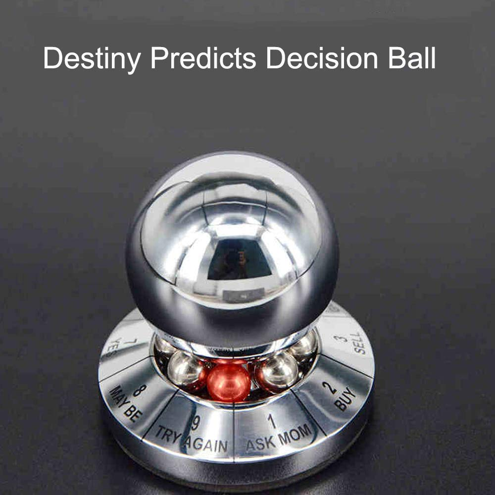 Baojintao Destiny Predicts Decision Ball,Prophecy Rotation Selection Difficult Device,Desktop Decoration,Paperweight,Graduation Classmate Gift for Boy,Brightsilver