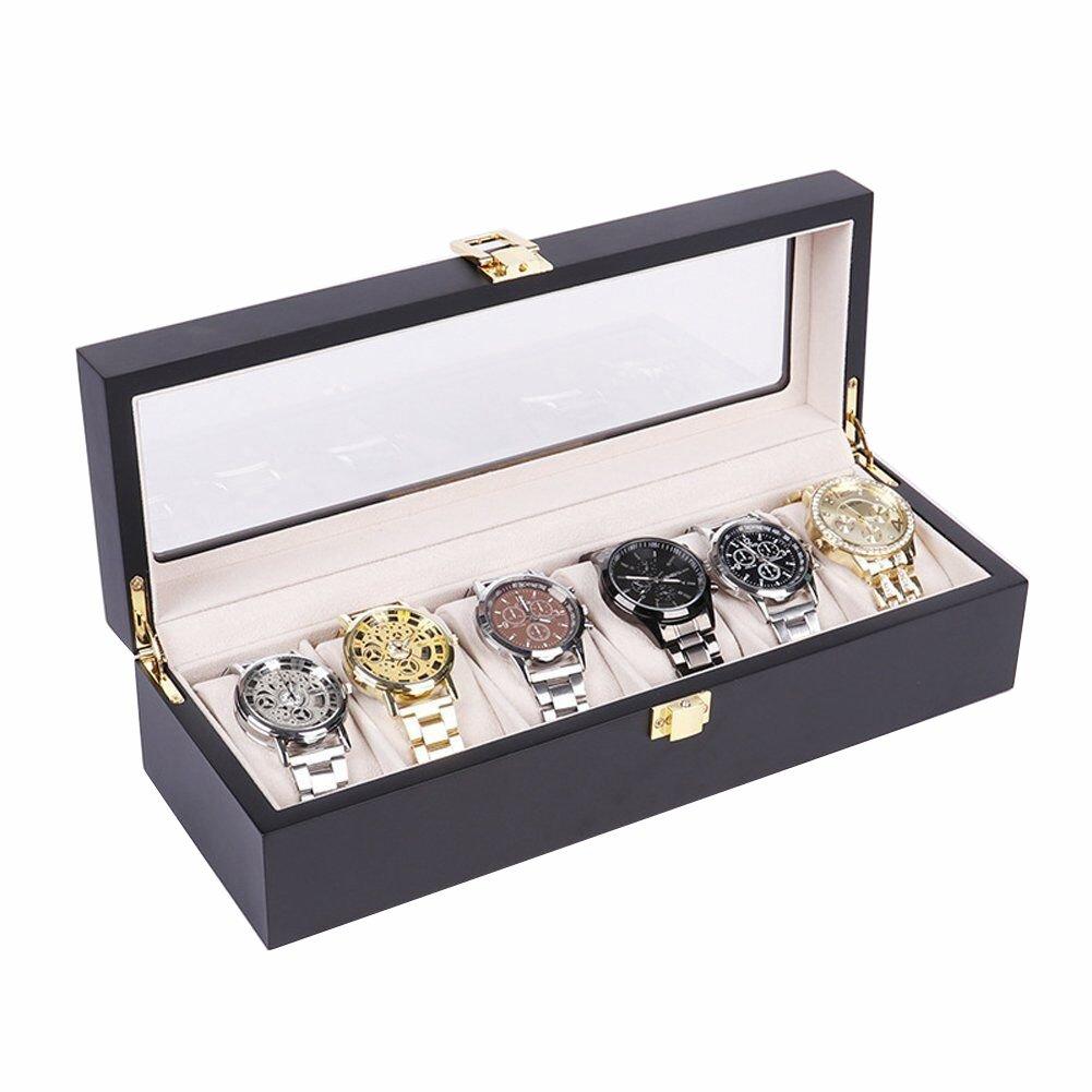 TUYU 6 Slot Black Luxury Watch Box for Men Wooden Watch Display Case Organizer Jewelry Storage HZ0007