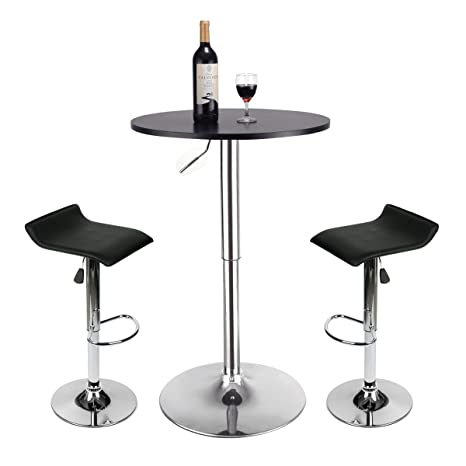 Amazon.com: Juego de 3 mesas de bar – Mesa redonda ajustable ...