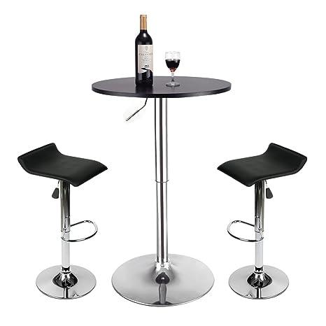 Amazon.com: Juego de 3 mesas de bar – Mesa redonda ajustable ...