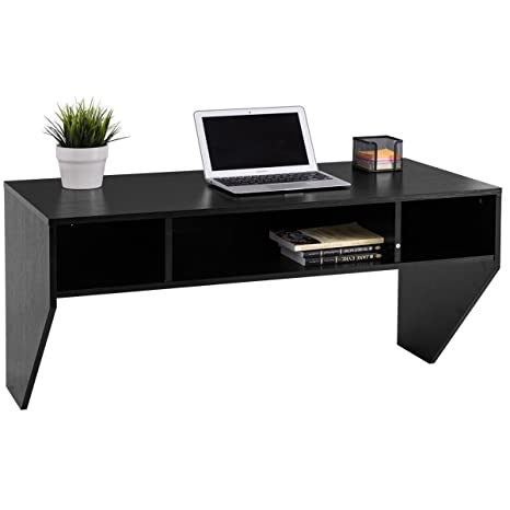 Giantex Wall Mounted Floating Computer Desk with Storage Shelves for Home  Office Bedroom Home Work Station Desk, Black