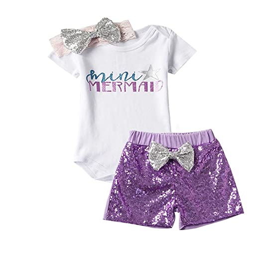 2e0271f686ec Scfcloth Newborn Baby Girl Mini Mermaid Romper + Sequin Shorts + Bow  Headband Outfits Set (